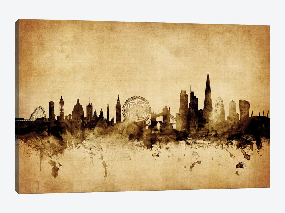Foxed (Retro) Skyline Series: London, England, United Kingdom I by Michael Tompsett 1-piece Canvas Print