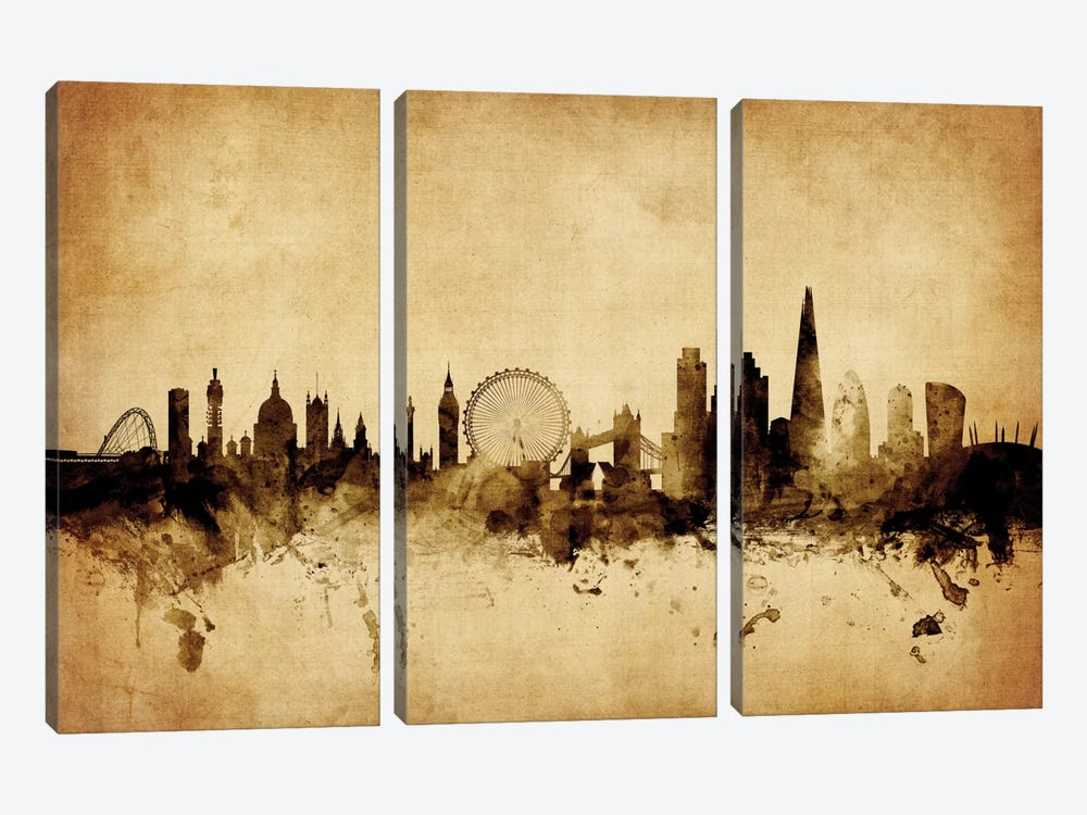 Foxed (Retro) Skyline Series: London, England, United Kingdom I by Michael Tompsett 3-piece Art Print