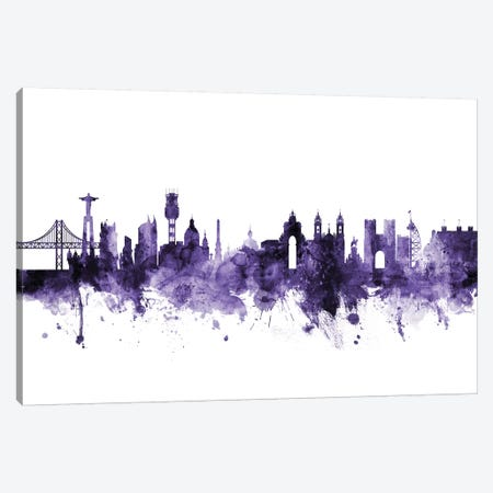 Lisbon, Portugal Skyline Canvas Print #MTO630} by Michael Tompsett Canvas Wall Art