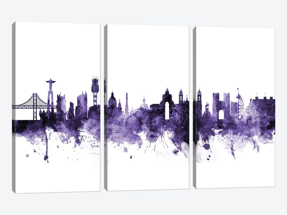 Lisbon, Portugal Skyline by Michael Tompsett 3-piece Canvas Artwork