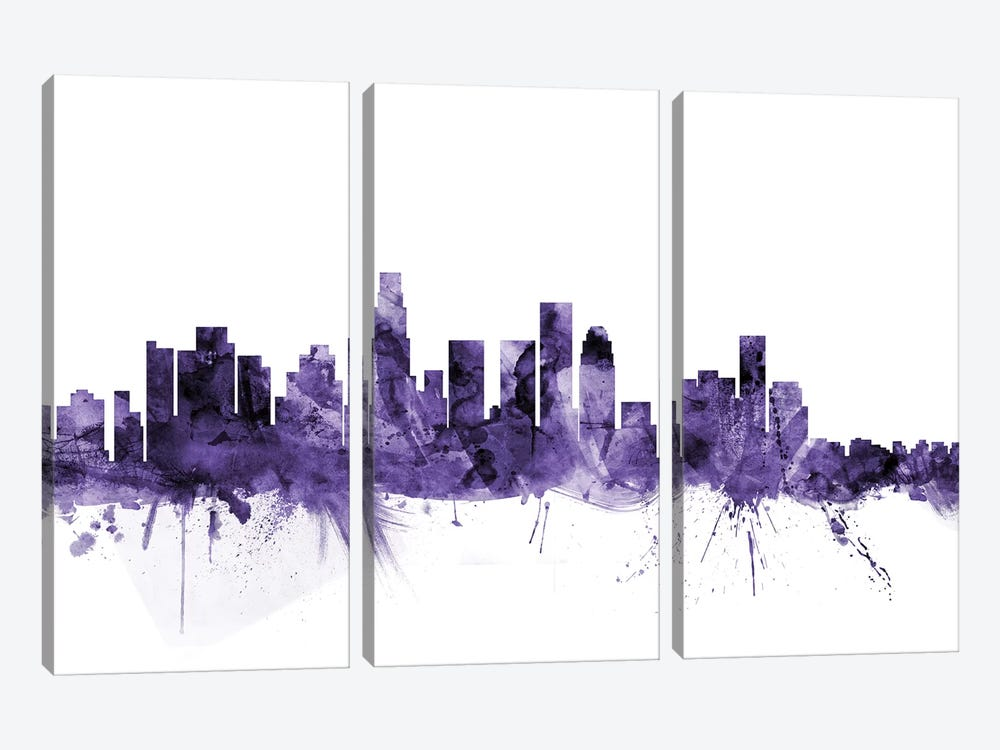 Los Angeles, California Skyline I by Michael Tompsett 3-piece Canvas Artwork