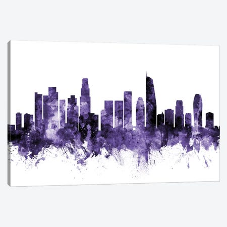 Los Angeles, California Skyline II 3-Piece Canvas #MTO635} by Michael Tompsett Art Print