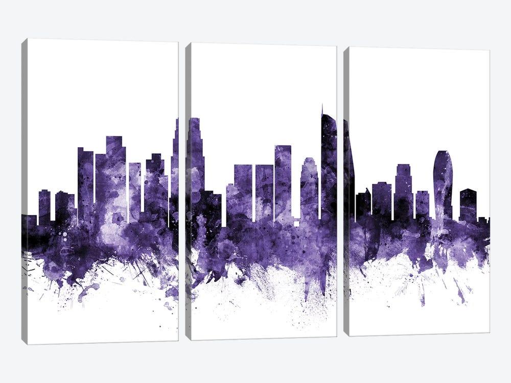 Los Angeles, California Skyline II by Michael Tompsett 3-piece Canvas Print