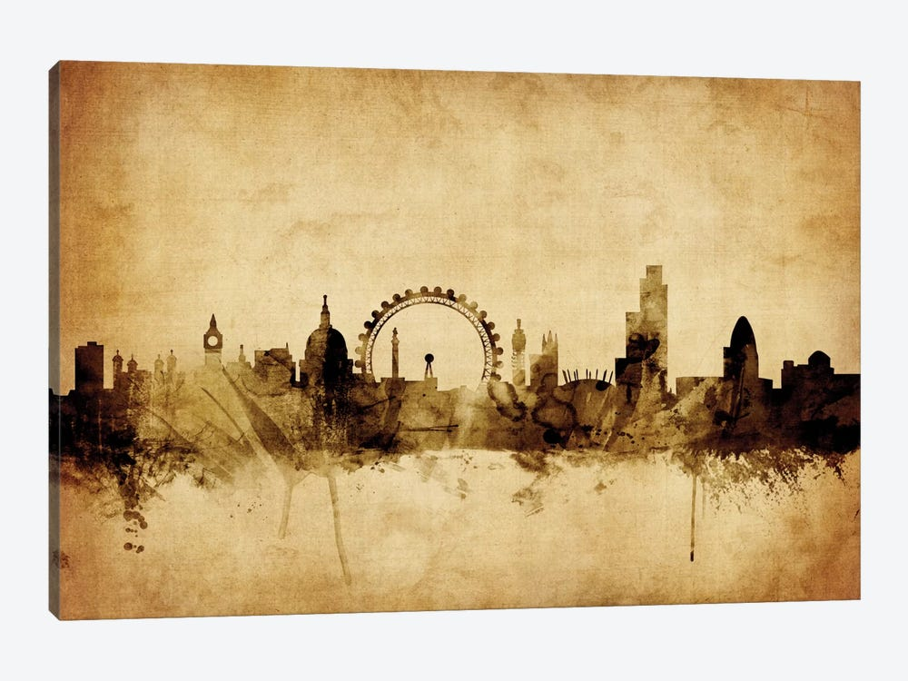 Foxed (Retro) Skyline Series: London, England, United Kingdom II by Michael Tompsett 1-piece Canvas Art