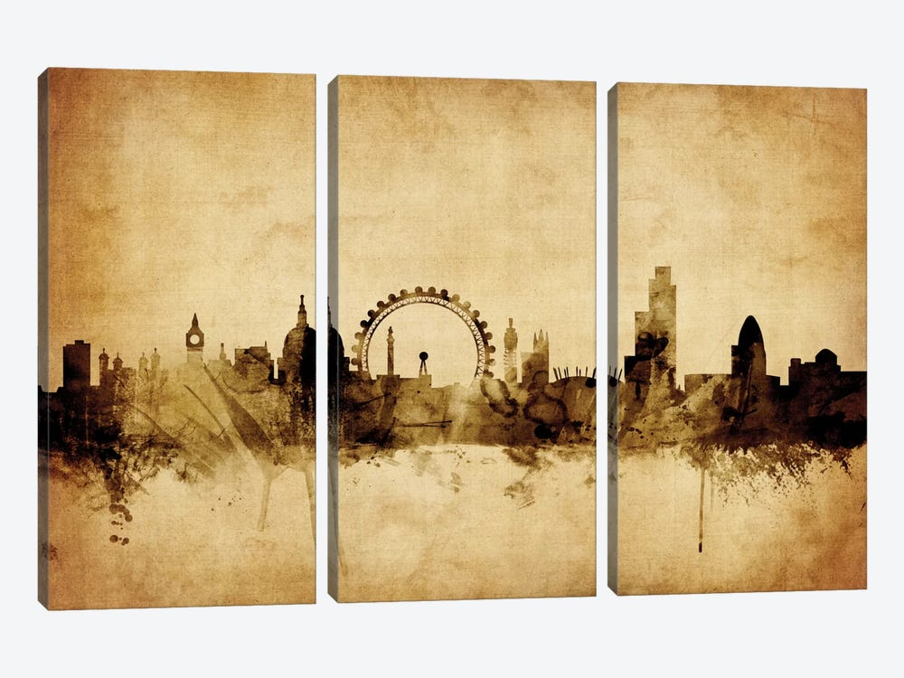 Foxed (Retro) Skyline Series: London, England, United Kingdom II by Michael Tompsett 3-piece Canvas Art