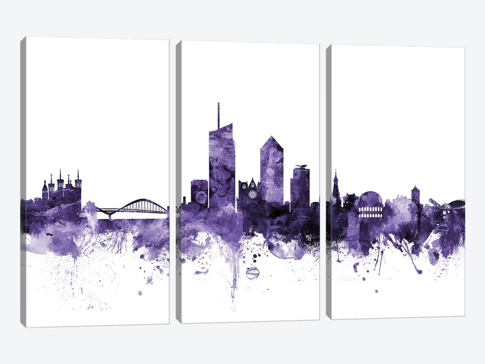 Lyon, France Skyline by Michael Tompsett 3-piece Canvas Art Print