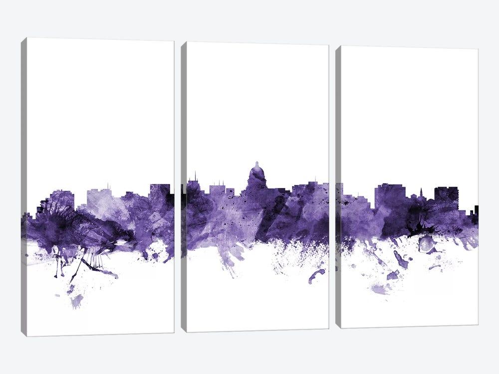 Madison, Wisconsin Skyline by Michael Tompsett 3-piece Canvas Wall Art