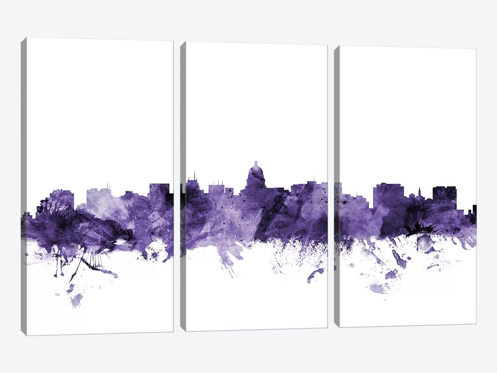 Madison, Wisconsin Skyline by Michael Tompsett 3-piece Canvas Wall Art