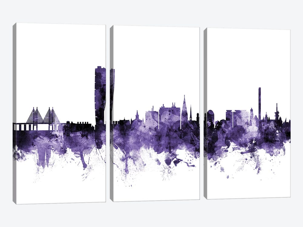 Malmo, Sweden Skyline by Michael Tompsett 3-piece Canvas Artwork