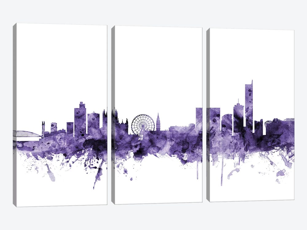 Manchester, England Skyline by Michael Tompsett 3-piece Canvas Art Print