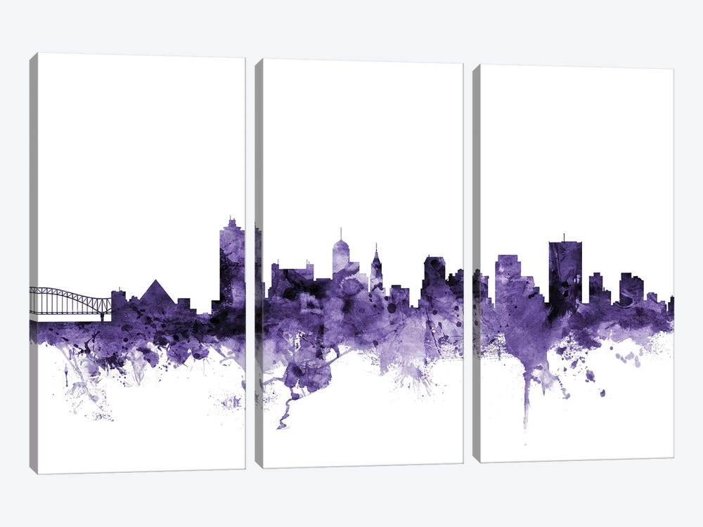 Memphis, Tennessee Skyline by Michael Tompsett 3-piece Canvas Art Print