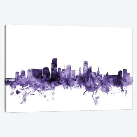 Miami, Florida Skyline Canvas Print #MTO647} by Michael Tompsett Canvas Art