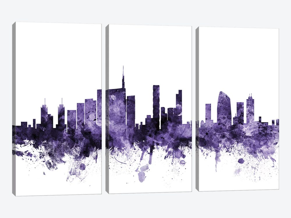 Milan, Italy Skyline by Michael Tompsett 3-piece Canvas Art