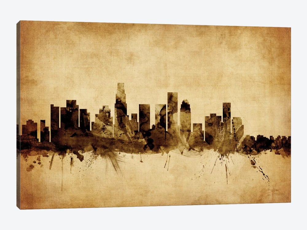 Foxed (Retro) Skyline Series: Los Angeles, California, USA by Michael Tompsett 1-piece Art Print