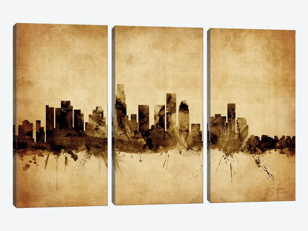 Foxed (Retro) Skyline Series: Los Angeles, California, USA by Michael Tompsett 3-piece Art Print