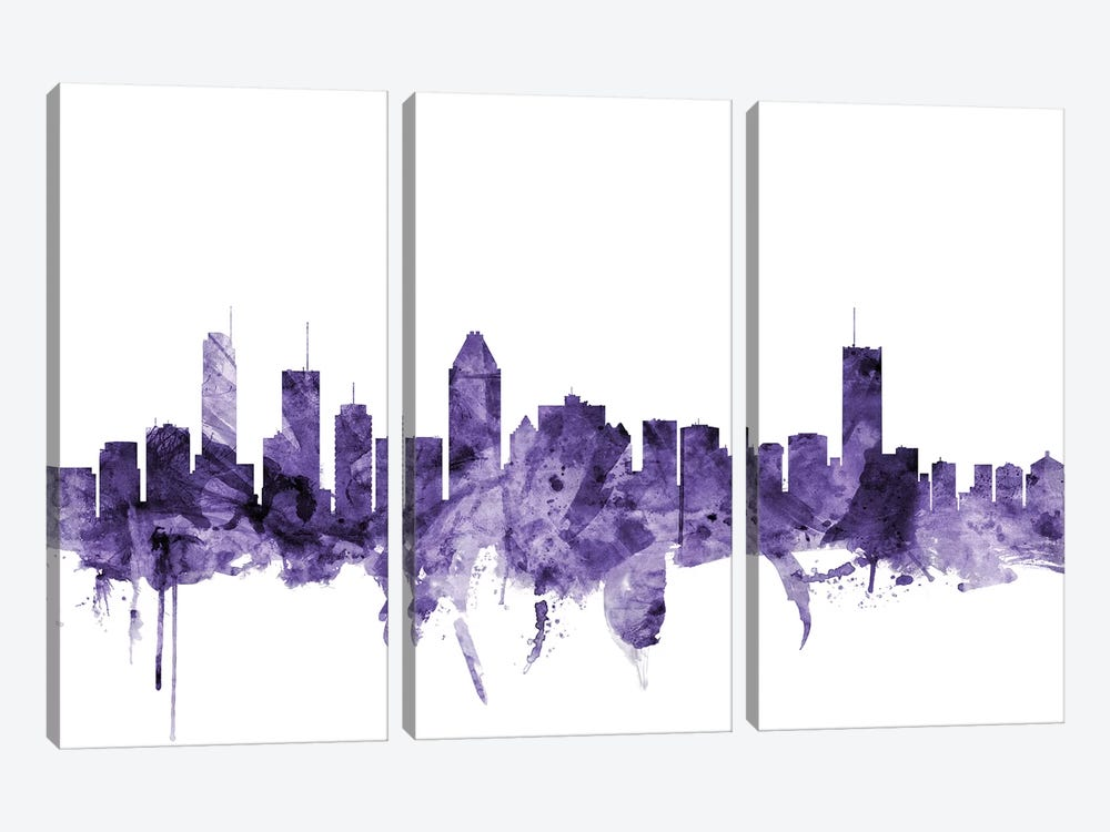 Montreal, Canada Skyline by Michael Tompsett 3-piece Canvas Wall Art