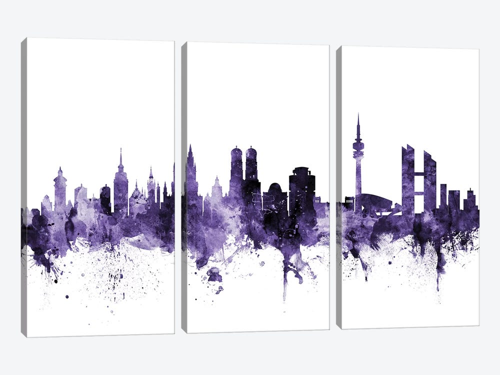 Munich, Germany Skyline by Michael Tompsett 3-piece Canvas Print