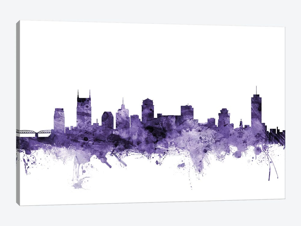 Nashville, Tennessee Skyline by Michael Tompsett 1-piece Canvas Wall Art