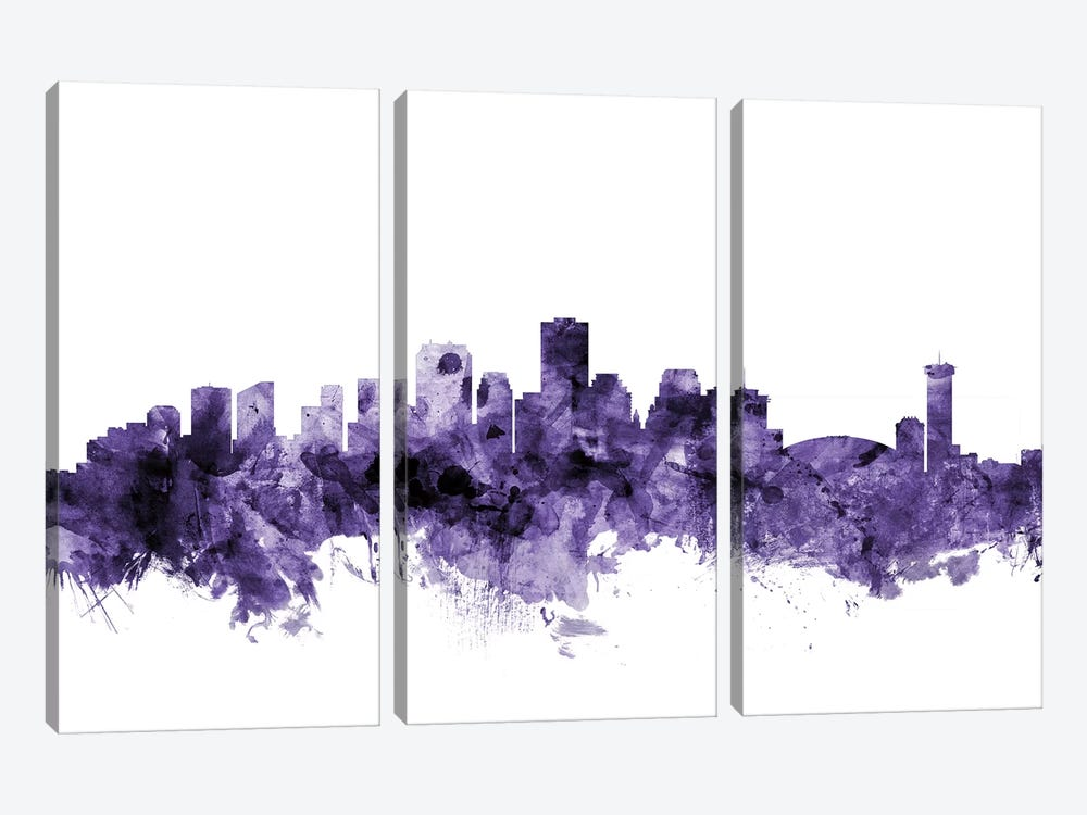 New Orleans, Louisiana Skyline by Michael Tompsett 3-piece Canvas Art
