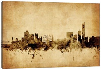 Foxed (Retro) Skyline Series: Manchester, England, United Kingdom Canvas Print #MTO65
