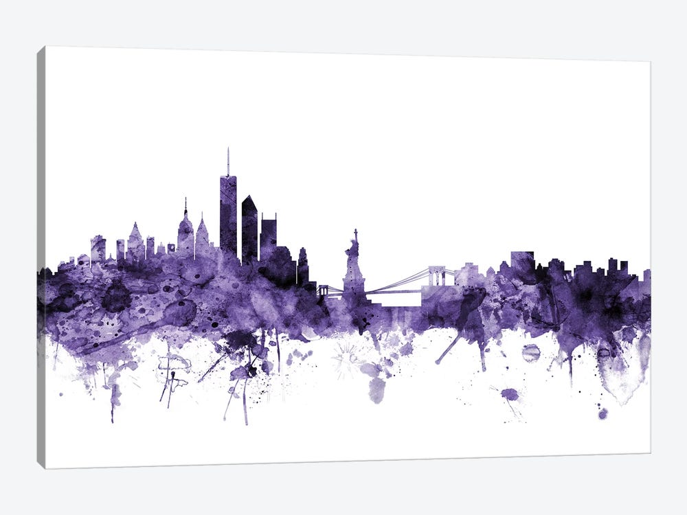 New York City Skyline II by Michael Tompsett 1-piece Canvas Art Print