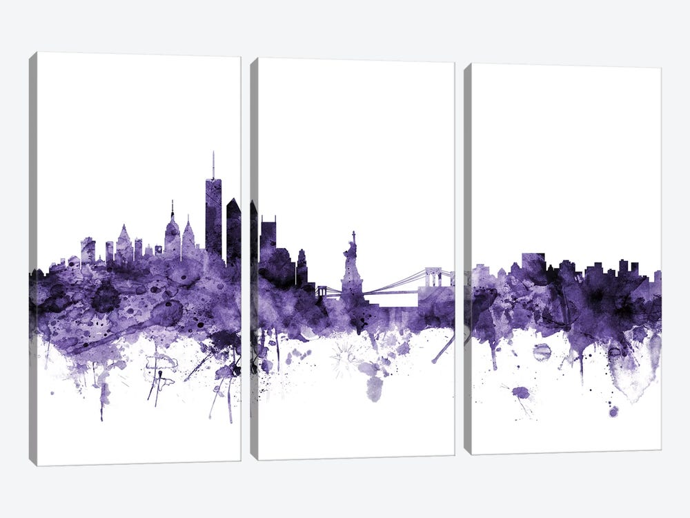 New York City Skyline II by Michael Tompsett 3-piece Art Print