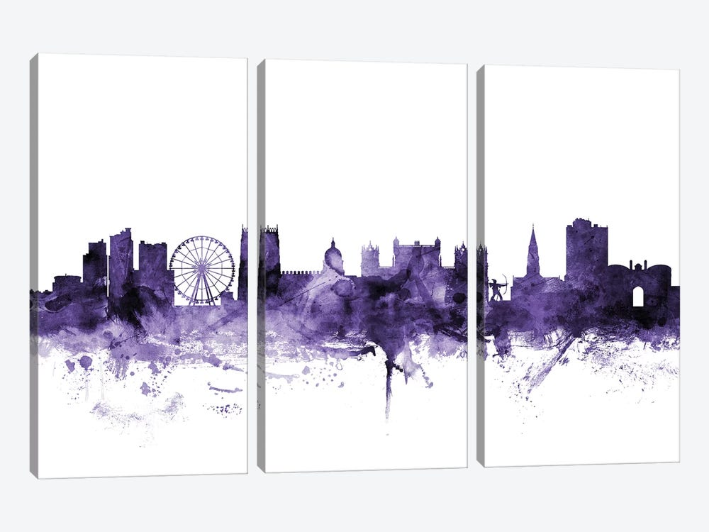 Nottingham, England Skyline by Michael Tompsett 3-piece Canvas Art