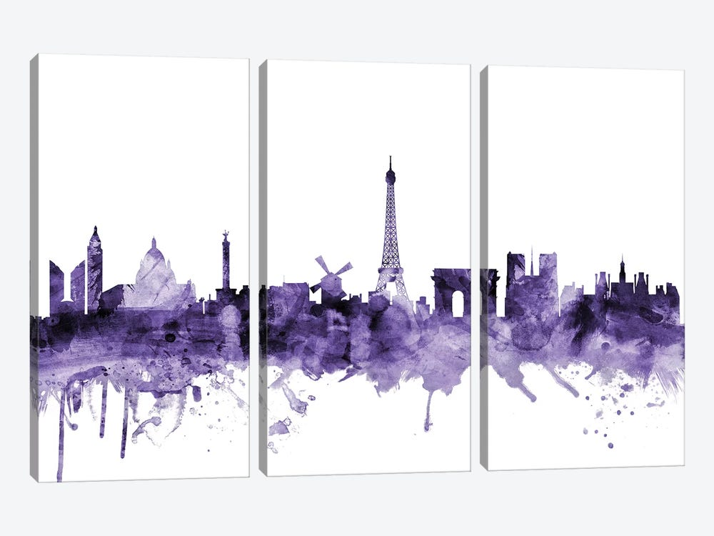 Paris, France Skyline 3-piece Canvas Artwork