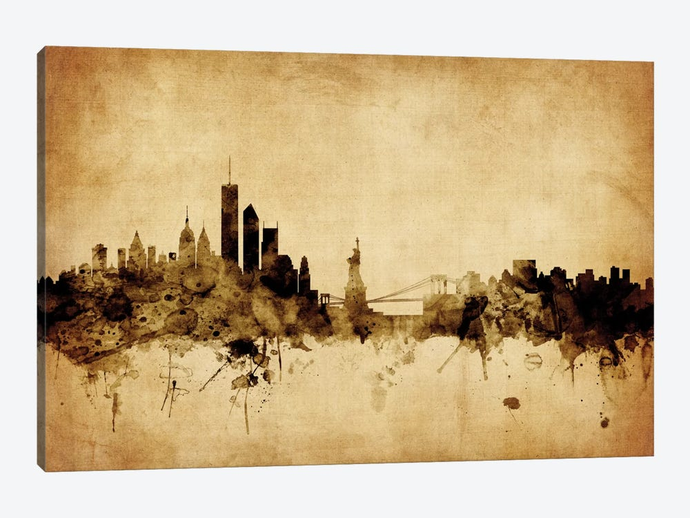 Foxed (Retro) Skyline Series: New York City, New York, USA I 1-piece Art Print