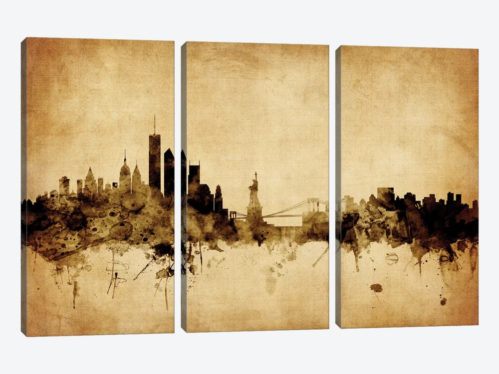 Foxed (Retro) Skyline Series: New York City, New York, USA I by Michael Tompsett 3-piece Canvas Print