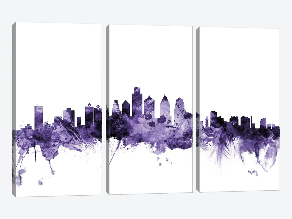 Philadelphia, Pennsylvania Skyline by Michael Tompsett 3-piece Canvas Art Print