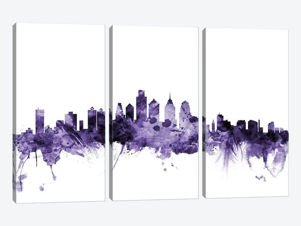 Philadelphia, Pennsylvania Skyline by Michael Tompsett 3-piece Canvas Art Print