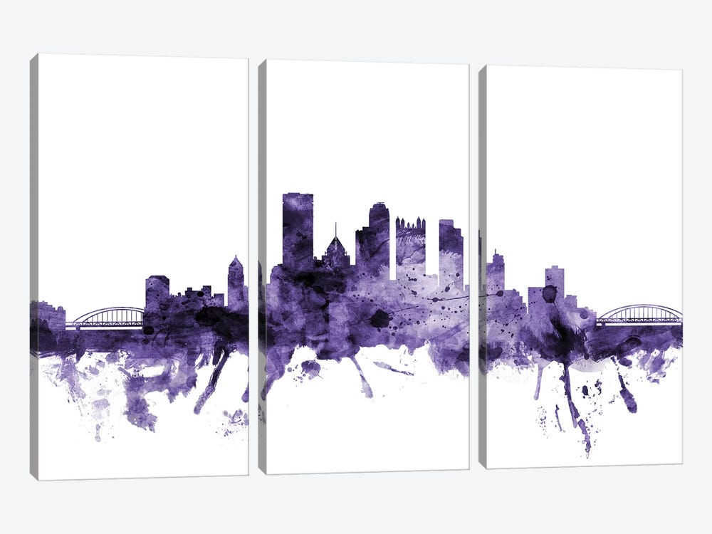 Pittsburgh, Pennsylvania Skyline by Michael Tompsett 3-piece Canvas Print