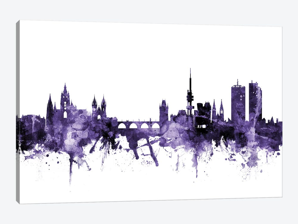 Prague (Praha), Czech Republic Skyline by Michael Tompsett 1-piece Canvas Artwork