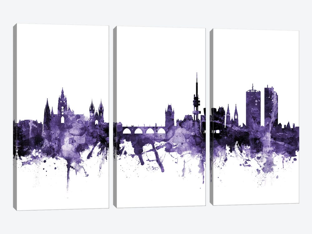 Prague (Praha), Czech Republic Skyline by Michael Tompsett 3-piece Canvas Artwork