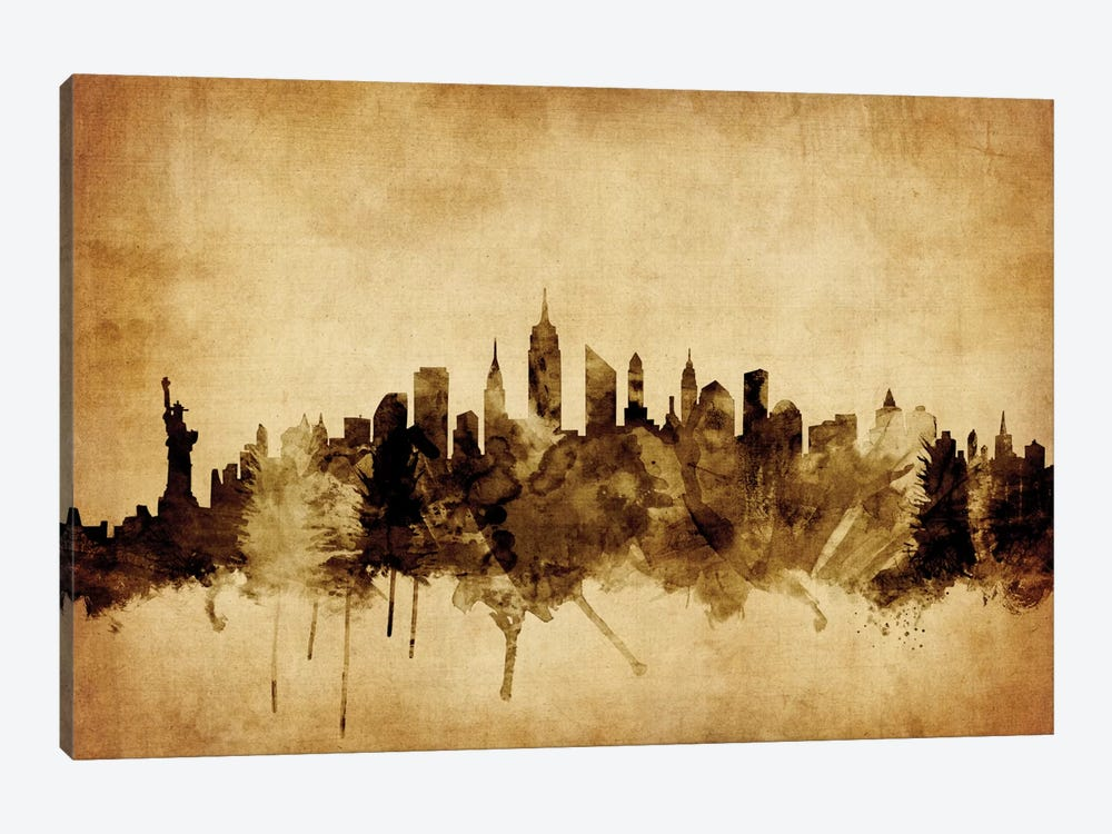 Foxed (Retro) Skyline Series: New York City, New York, USA II by Michael Tompsett 1-piece Canvas Art