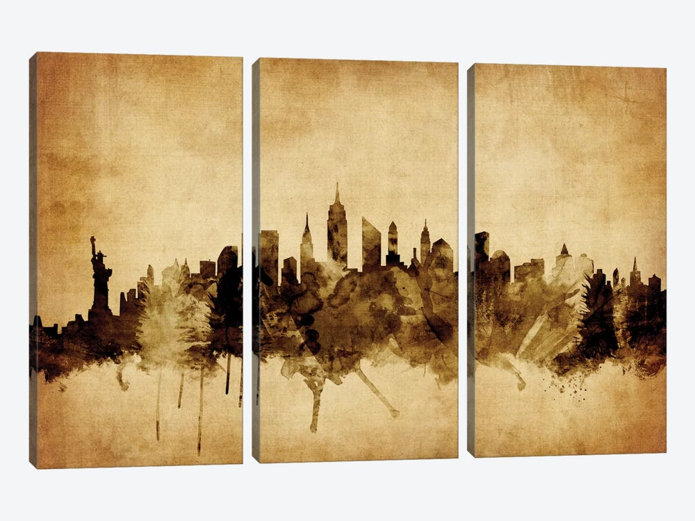 Foxed (Retro) Skyline Series: New York City, New York, USA II by Michael Tompsett 3-piece Canvas Art