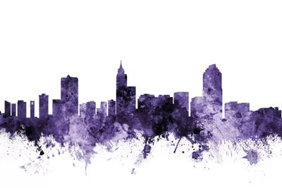 Raleigh, North Carolina Skyline Art Print by Michael Tompsett | iCanvas