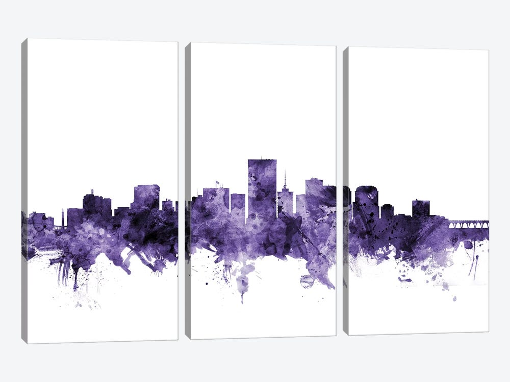 Richmond, Virginia Skyline by Michael Tompsett 3-piece Canvas Artwork