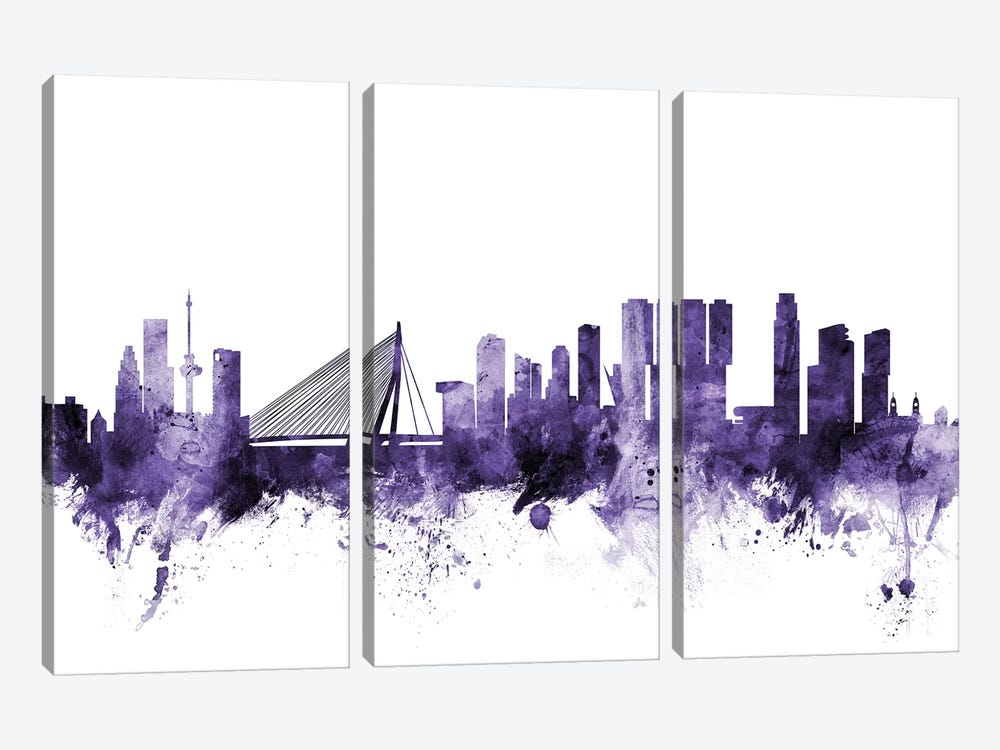 Rotterdam, The Netherlands Skyline by Michael Tompsett 3-piece Canvas Wall Art