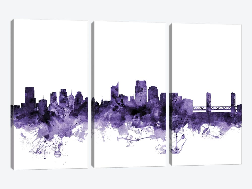 Sacramento, California Skyline by Michael Tompsett 3-piece Canvas Art Print