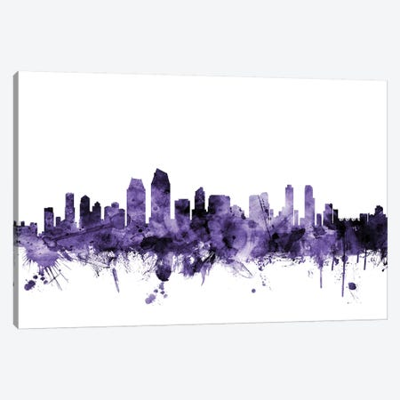 San Diego, California Skyline Canvas Print #MTO692} by Michael Tompsett Canvas Art