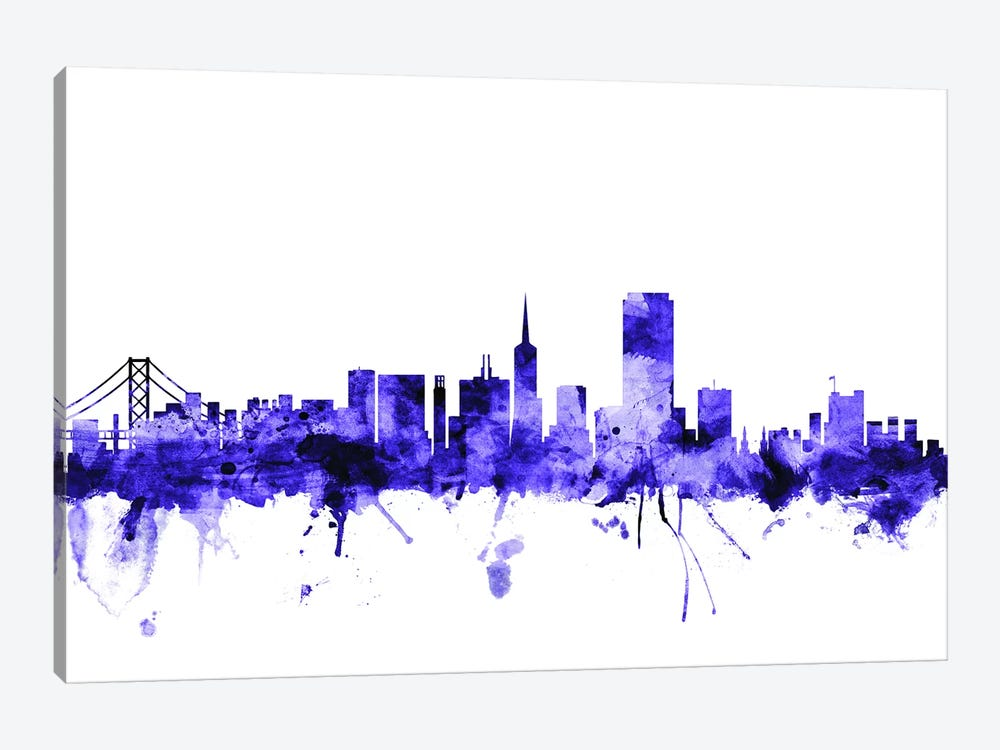 San Francisco, California Skyline I by Michael Tompsett 1-piece Canvas Print
