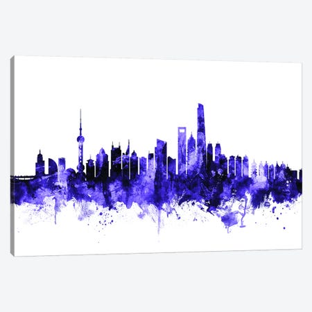 Shanghai, China Skyline Canvas Print #MTO699} by Michael Tompsett Canvas Artwork