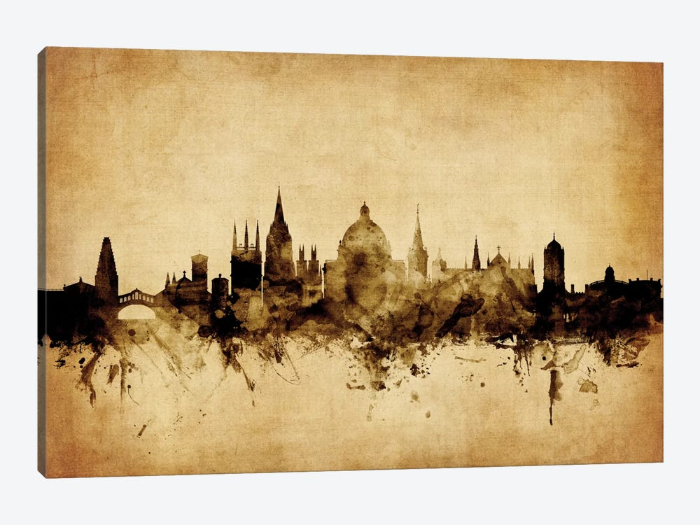 Foxed (Retro) Skyline Series: Oxford, England, United Kingdom by Michael Tompsett 1-piece Canvas Artwork