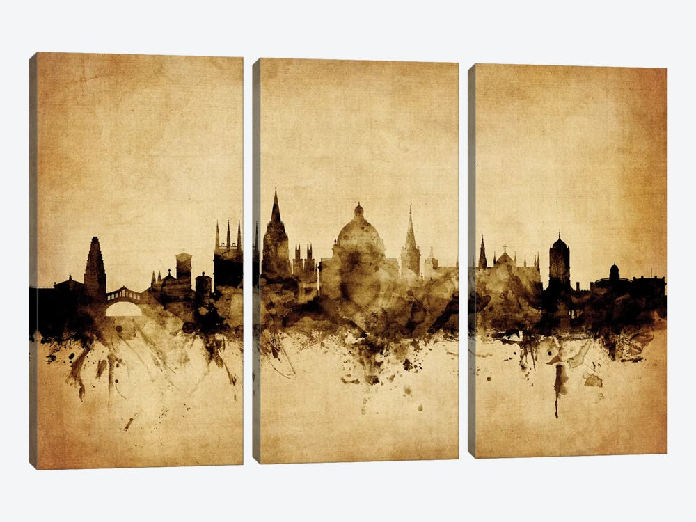 Foxed (Retro) Skyline Series: Oxford, England, United Kingdom by Michael Tompsett 3-piece Canvas Artwork