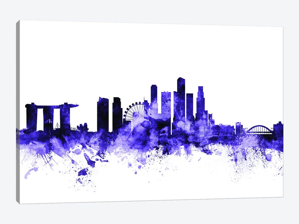 Singapore Skyline Canvas Wall Art by Michael Tompsett   iCanvas