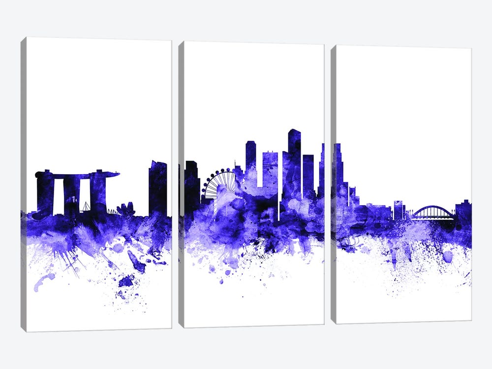 Singapore Skyline by Michael Tompsett 3-piece Canvas Artwork