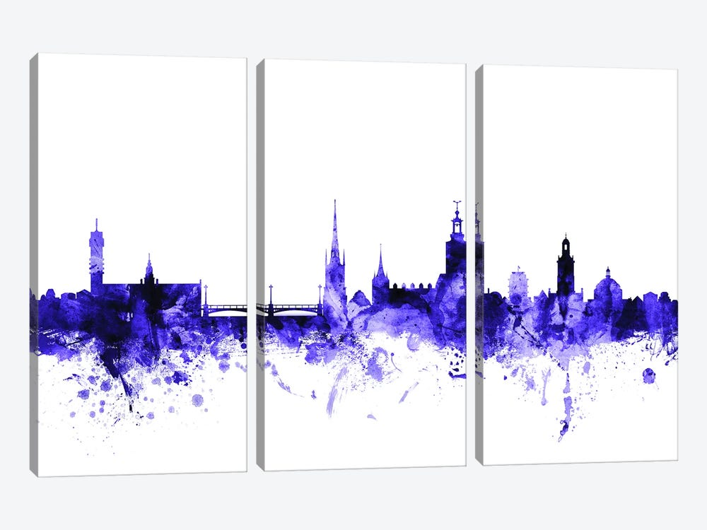 Stockholm, Sweden Skyline by Michael Tompsett 3-piece Canvas Wall Art