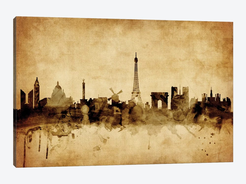 Foxed (Retro) Skyline Series: Paris, France by Michael Tompsett 1-piece Canvas Artwork